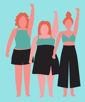 women raising hands